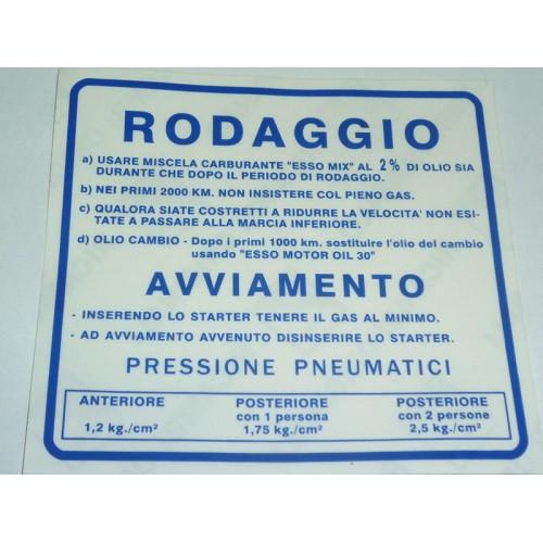 NORME RODAGGIO ORIG.PIAGGIO