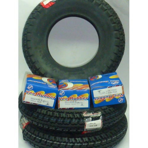 3 pneumatici 3.50/8 + 3 camere vee-rubber