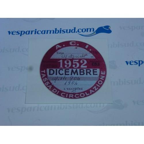 ADESIVO VESPA / LAMBRETTA TASSA CIRCOLAZIONE 1952